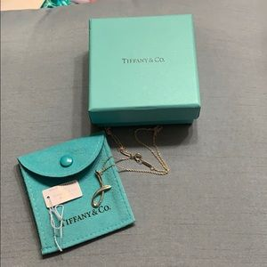 """Tiffany and Company silver letter """"J"""" necklace"""
